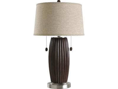 This lamp features grooved chestnut body with a...