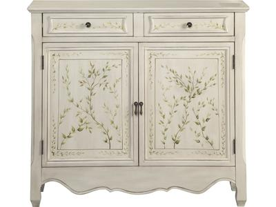 This accent cabinet features a hand painted lea...