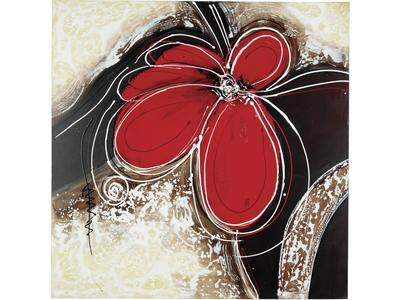 Wrapped canvas in red and black with acrylic ac...