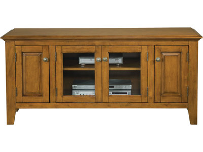 "This oak finished 55"" console is constructed of..."