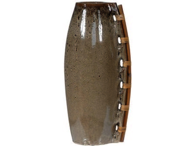 "8.5""W x 7.5""D x 19""H  Decorative vase with ratt..."
