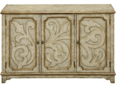 This cabinet has an antique light grey finish w...