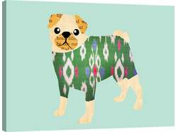 Pug In Ikat Sweater Wall Art