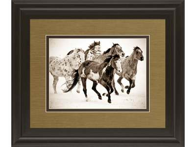 Painted horses run is a double matted print un...