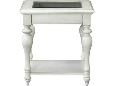 This beautiful cream colored end table is trans...